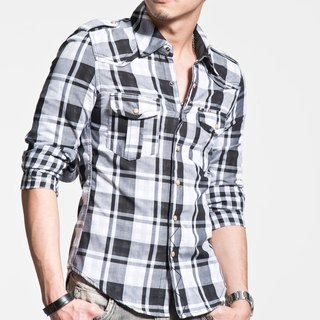 50 combed cotton double-cloth of black and white large plaid long-sleeved shirt Pyramid Rivet (inner layer is a small grid)
