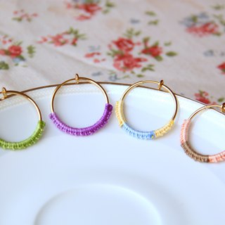 French embroidery thread circle earrings - [optional color] custom / ear clips, ear needle earrings (pair)