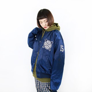 Back to Green :: Trucks Baseball Jacket Dark Blue Baseball // Many Blacks Defeat Can See Private Photos // vintage jacket (C-09)