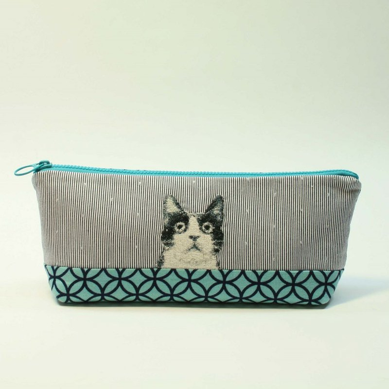 Embroidery Pencil Bag 17 - Black and White Cat