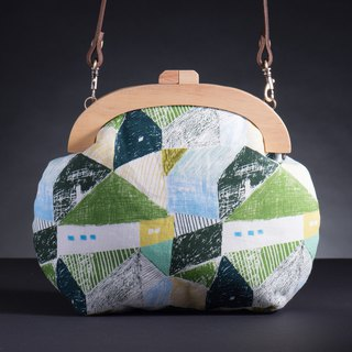 [Collage green mosaic] Vintage wooden mouth gold package - Mocha # bag # # Wenqing New Year's gift # Valentine's Day gift