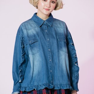 : EMPHASIZE sleeves flounced hem design retro white-washed denim shirt - dark blue