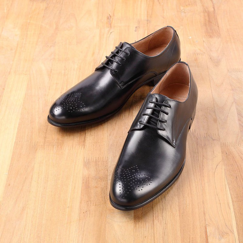Vanger simple carved derby shoes Va216 black