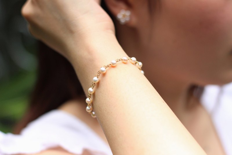 [bead curtain] pearl bracelet natural aurora freshwater pearl handmade winding 14k gold can be customized