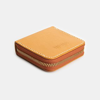 Square zip coin purse / card Italy imported vegetable tanned leather primary color / natural color - GSW01