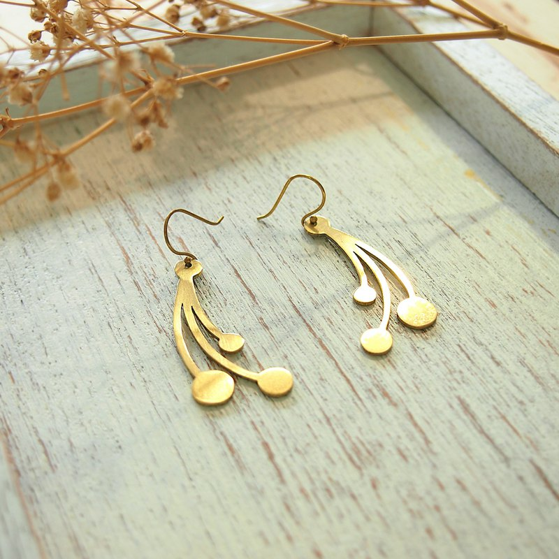 Three comets earrings handmade brass