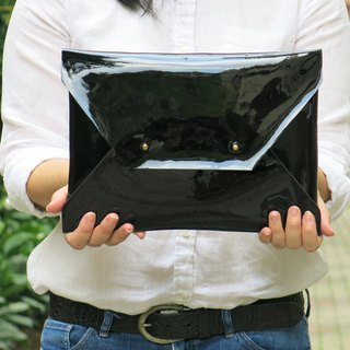 LARGE Patent Black Leather Envelope Clutch, Bridesmaid Clutch, Handmade Leather