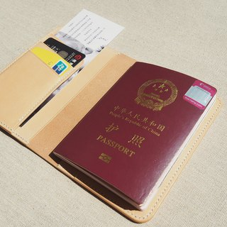 Passport holder wallet Italy original color vegetable tanned cowhide vertical card position handmade leather design customized