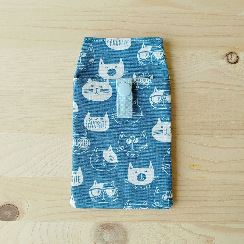 Cat head _ blue pocket type pencil bag / attached document bag / order