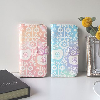 Notebook type phone case - Floral Lace -