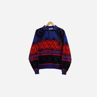 Discolored vintage / red and blue geometric lapel knitted sweater no.304 vintage