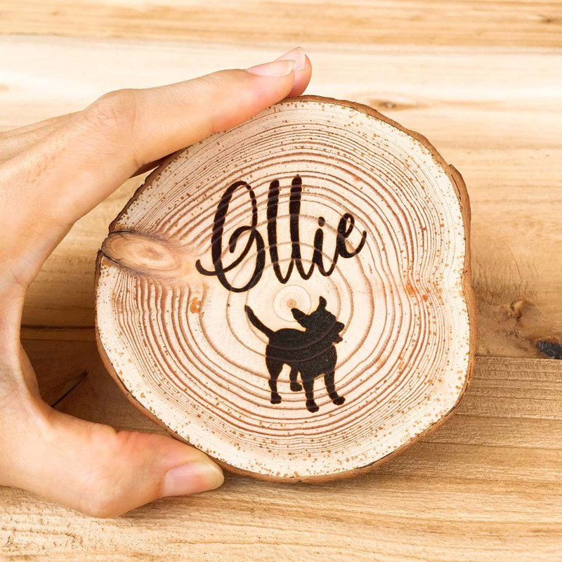 Dog Memorial Gifts. Custom Pet Silhouette Wooden Coaster.Pet Loss Remembrance.