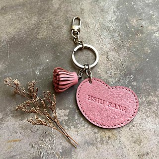 KAKU leather design leather love tassel key ring