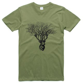 Deer Tree (spot) short-sleeved T-shirt army green deer tree elk design Wenqing own brand animals