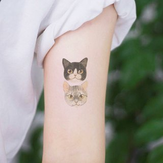 TU tattoo stickers - Cute cat 2 heads tattoos waterproof tattoo  Original