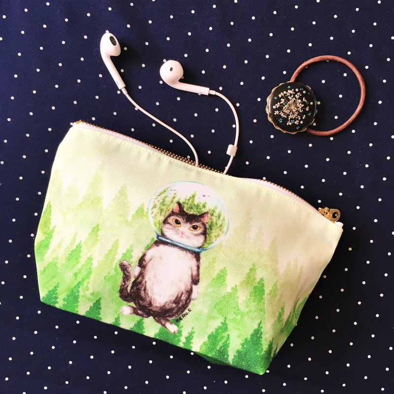 Glass ball cat forest cat cosmetic bag storage bag pencil case