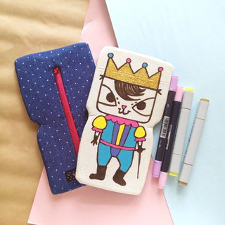 Handmade Hand paint cat Bo Bo king pencil case beauty bag storge bag