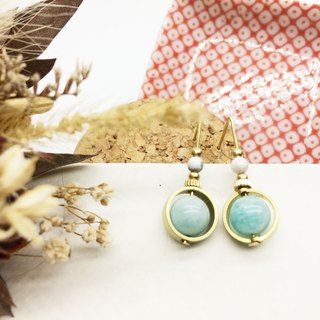 Laurin groceries Travelin natural stone brass earrings turn Tianhe stone / white turquoise ear hook l ear needle l ear clip