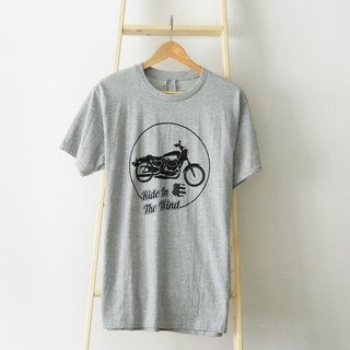 Ride In The Wind-Unisex Grey T-shirt,Hand-Printed,Biker Tee,Motorcycle Graphic