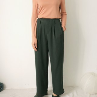 Naruja Trousers Drape Wind Forest Green Floor Pants