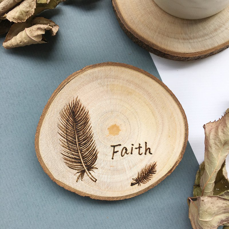 Feather Faith_ Wood Coaster