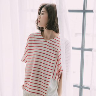 Paper Window Asymmetrical Shirt - Red and White