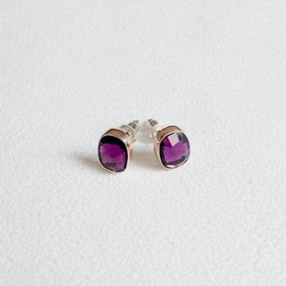 Oval purple glass/Earrings/Swarovski Crystal/Sterling Silver/Rose alloy/By hand【ZHÀO】SZE1655