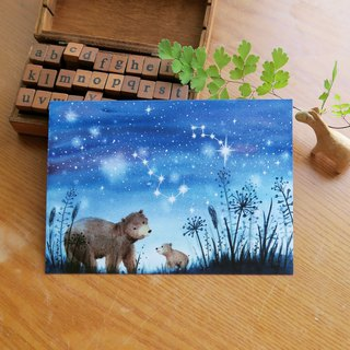 Starry Sky - Ursa Major and Little Bear Constellation Postcard
