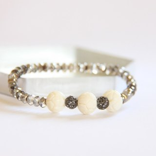 Fashion Jewelry series of energy - natural lotus carved bone bracelet / Nature bone beads & sterling silver mash ball bracelet