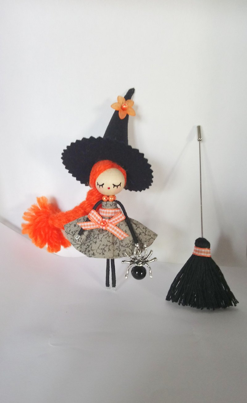 Witch brooch doll halloween