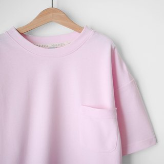 Loose Shoulder Edition Light and Soft Pink Pocket Tee - Size Qi