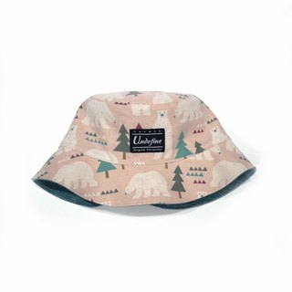 Warm sanded double-sided fisherman hat - polar bear forest (powder)
