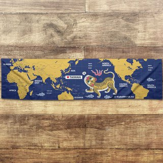 Make World map to make sports towel (blue and yellow tiger screaming A)