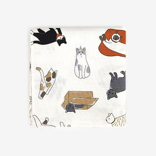 Dailylike Nordic wind cotton handkerchief 36 play cat, E2D02995
