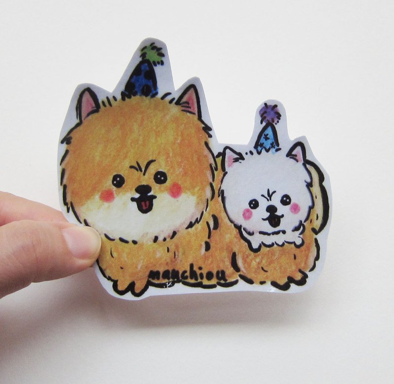 Hand-painted illustration style fully waterproof stickers Pomeranian Pomeranian Pomeranian
