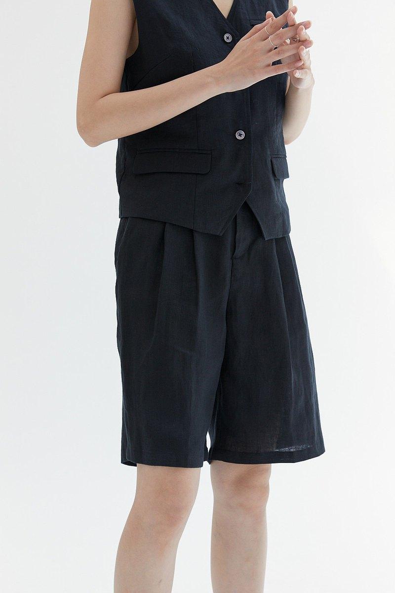 黑色 兩色 100%亞麻 複古中褲 經典極簡 男孩感寬松顯瘦五分褲