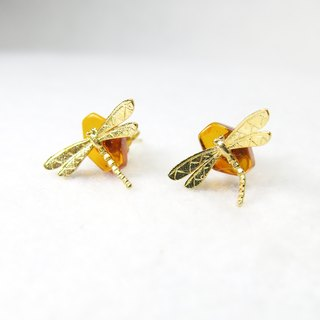 READ Dazzling Clear Wishes | 蜻蜓 18K Gold Earrings Small Amber Handmade