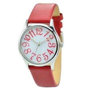 Fuschia Bold Numbers Watch Red Strap - Free shipping worldwide