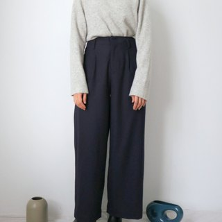 Martine Palazzo Pants - Winter 100% wool suit landing fold wide pants multicolor