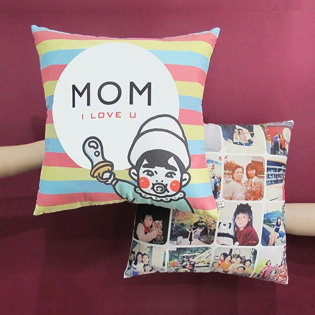 "FunPrint customize 16 Grid Photo Pillow ""Mom I love you"" Pattern"