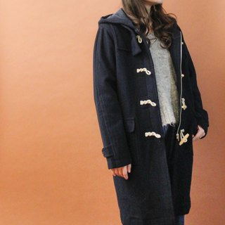 Retro autumn and winter college wind hooded dark blue loose vintage horn buckle coat jacket