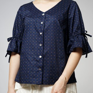 MIT Japanese Printed Fabric Five-Sleeve Top (R5062A)
