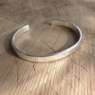 Sterling Silver - Thick Wide Plain Silver Bracelet (Matte Finishing)