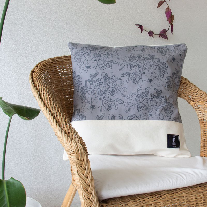"Federi Canvas Cushion Cover ""Deer and leaves"" gray and white"