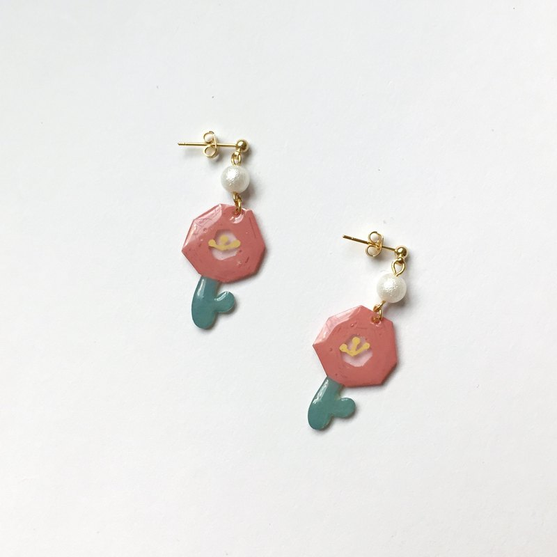 Graffiti flower clip / pin earrings