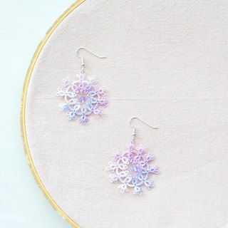 【訂製】手編雪花 耳環 幻彩紫 Tatting Snowflake Earrings