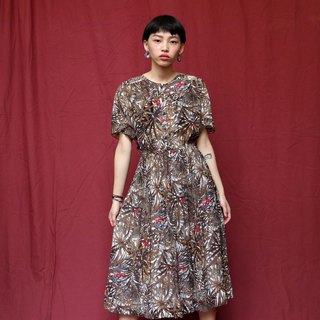 Pumpkin Vintage. Ancient forest bird print chiffon dress
