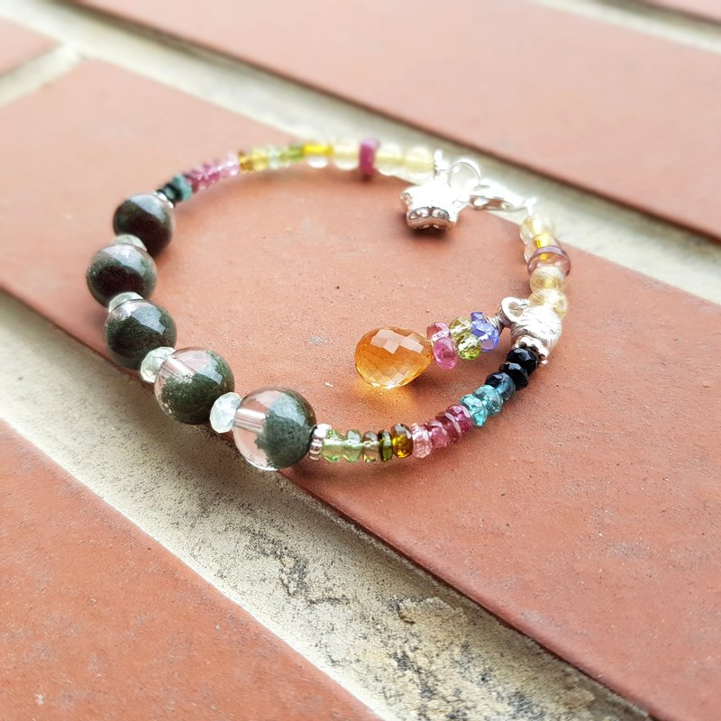 Girl Crystal World [Rainbow] - Green Ghost Bracelet Bracelet Natural Crystal Gems Handmade
