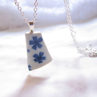 Glass fragments necklace - small bells // 2nd use ornaments / ceramic ornaments / fragmentation marks / blue and white ceramic necklace