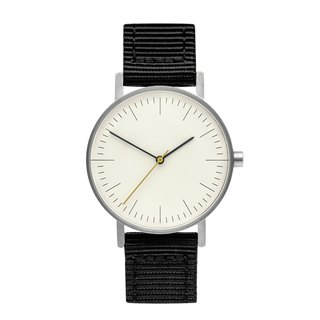 BIJOUONE B001 SILVERILVER WATCH ON NYLON STRAP, BLACK